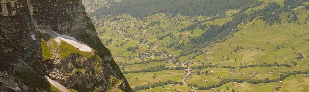 View over Grindelwald from route to the Glecksteinhütte (2,317m), Switzerland