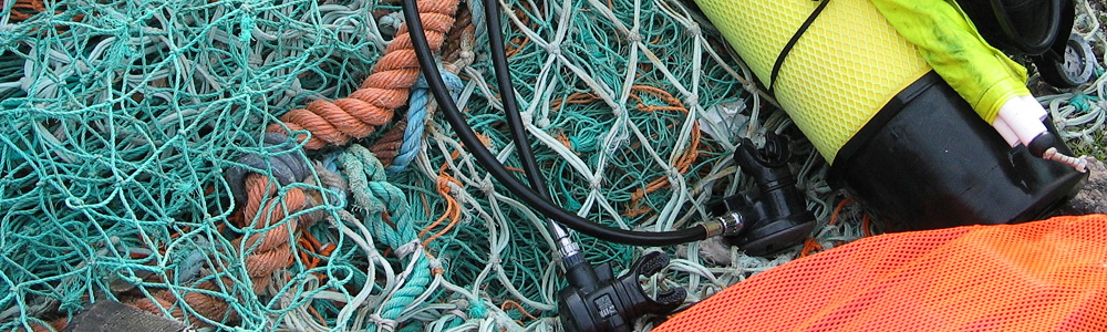 Fishing nets and diving gear at St. Abbs, Berwickshire